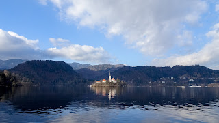 The cathedral in Bled is on a island