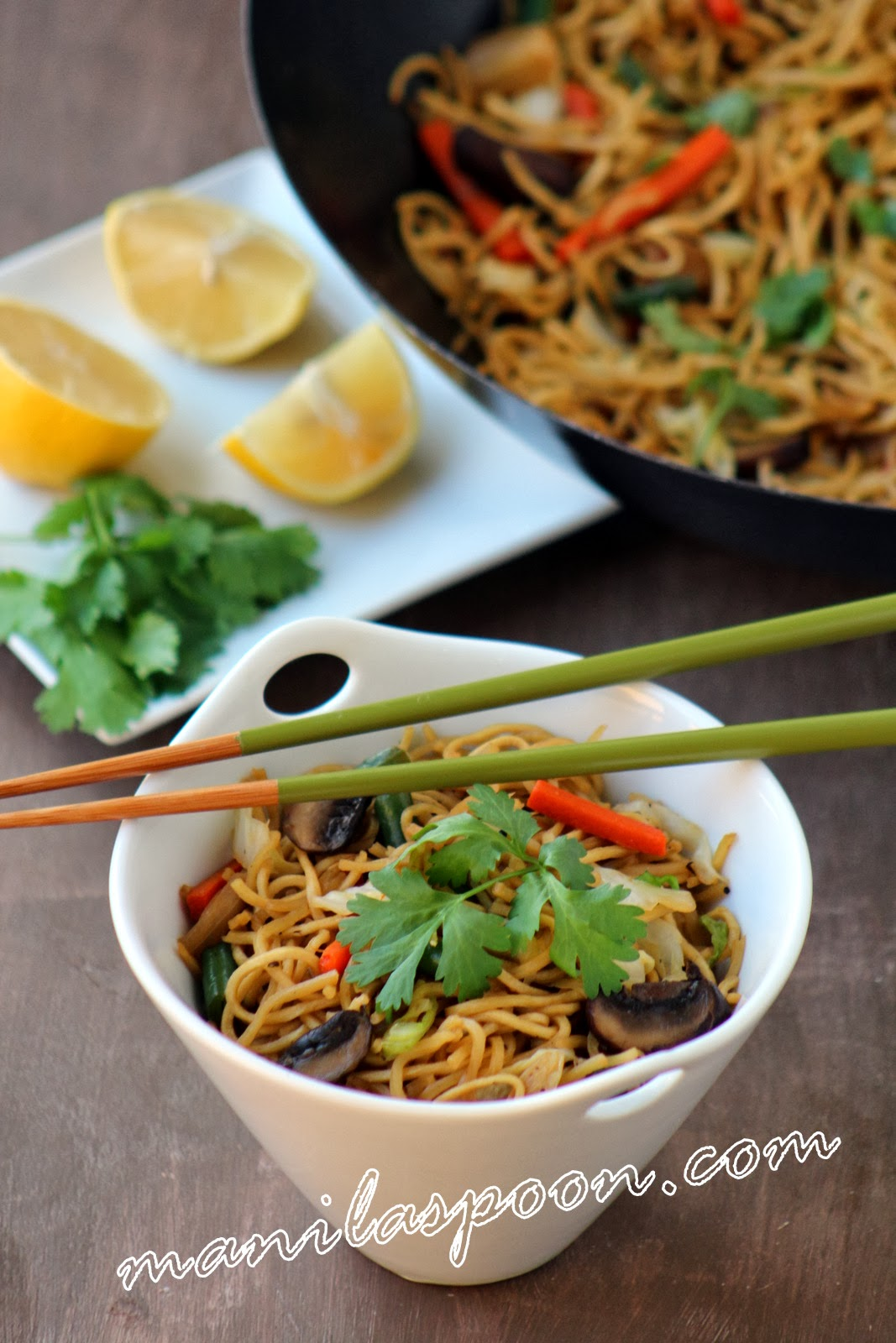 Quick, easy and tasty vegetarian version of the Filipino noodle stir-fry Pansit! You won't miss the meat!!