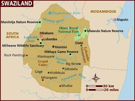 Suazilândia | Mapas Geográficos da Suazilândia
