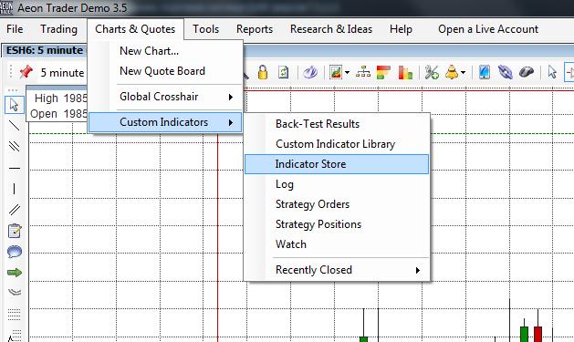 Как в Aeon Trader добавить собственный индикатор