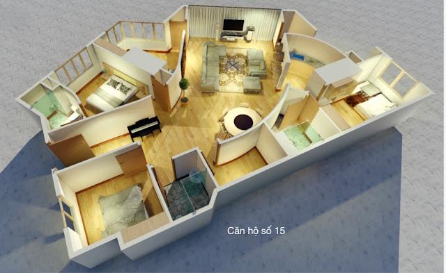 Thiết kế căn hộ 15 chung cư tháp doanh nhân