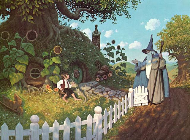 Bilbo Bolseiro e Gandalf em Bolsão, Condado