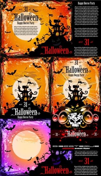Halloween posters fine vector Free vector