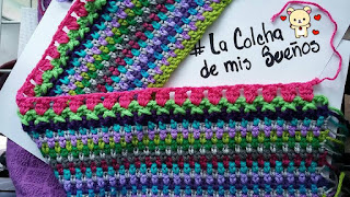 cobija crochet Rosa