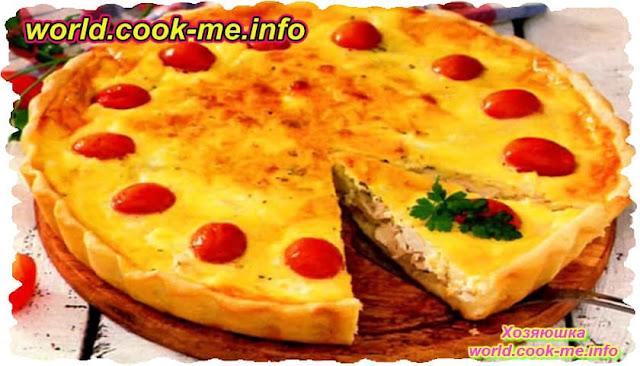 Пирог Киш с курицей, яйцом и помидорами