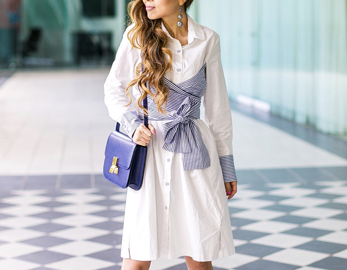 bow knot shirt dress, shirt dress, baublebar earrings, celine classic box bag, aquazzurua lace up heels, spring style, san francisco fashion blog