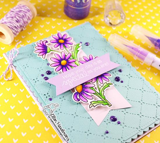 Daisy Card by Ellen Haxelmans | Dainty Daisies Stamp Set by Newton's Nook Designs #newtonsnook #handmade