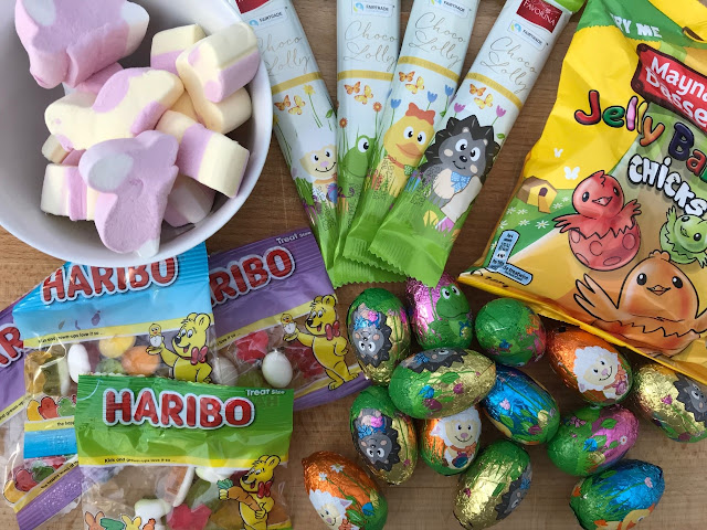Jelly Baby Chicks, chocolate eggs, haribos, marshmallows, chocolate lollies