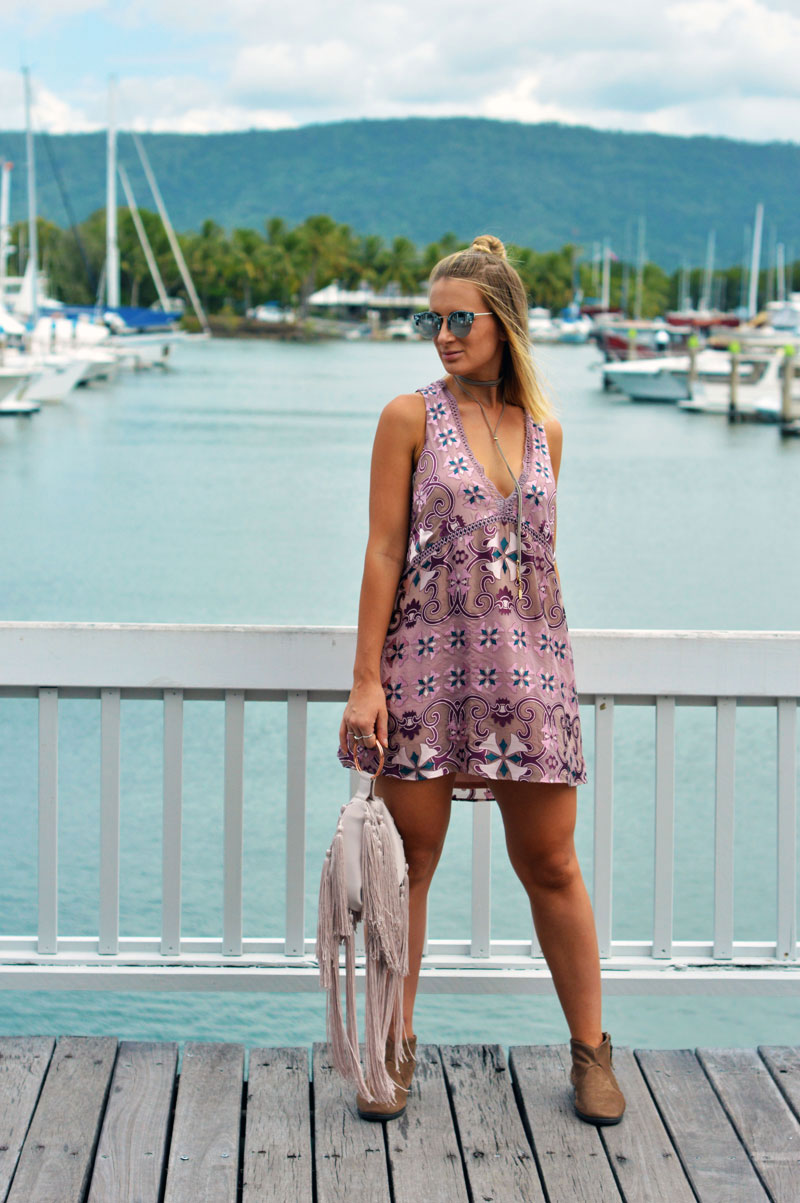 mauve colour trend boho print dress with wrap choker outfit idea