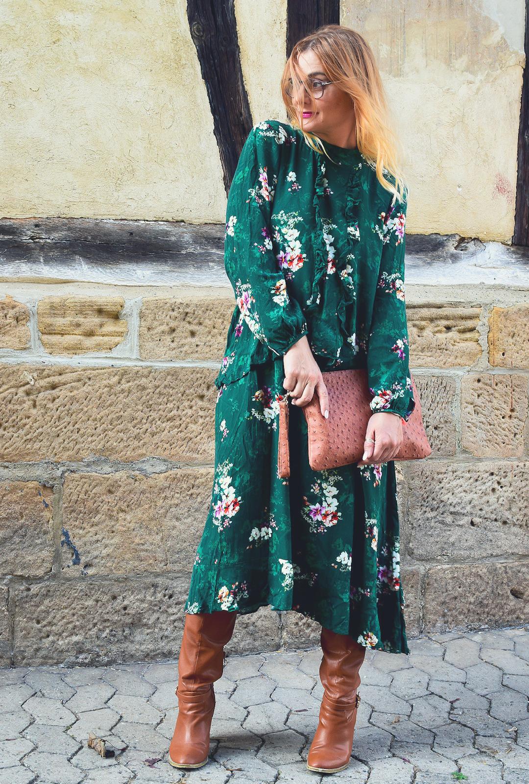 Herbstkleid für Frauen mit Blumenmuster, Grünes Kleid