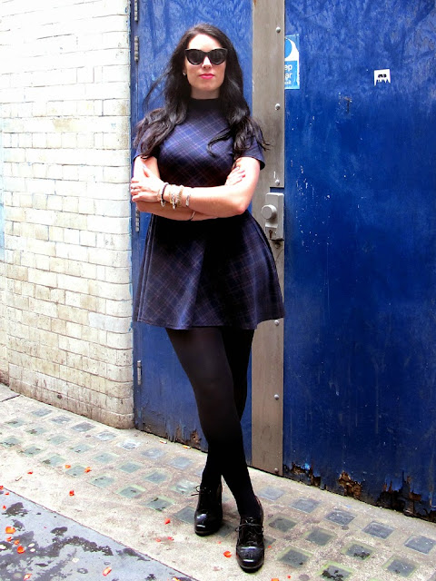London fashion blogger Emma Louise Layla in navy blue New Look check dress - UK fashion blog