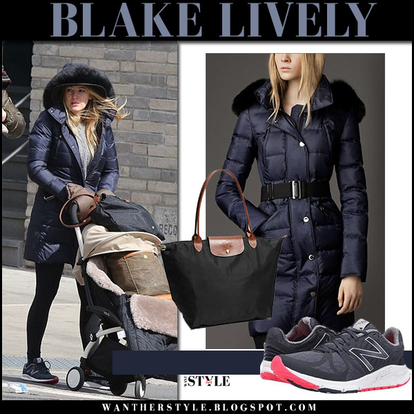 Blake Lively in blue puffer coat burberry and black sneakers new balance what she wore street style celebrity 2017