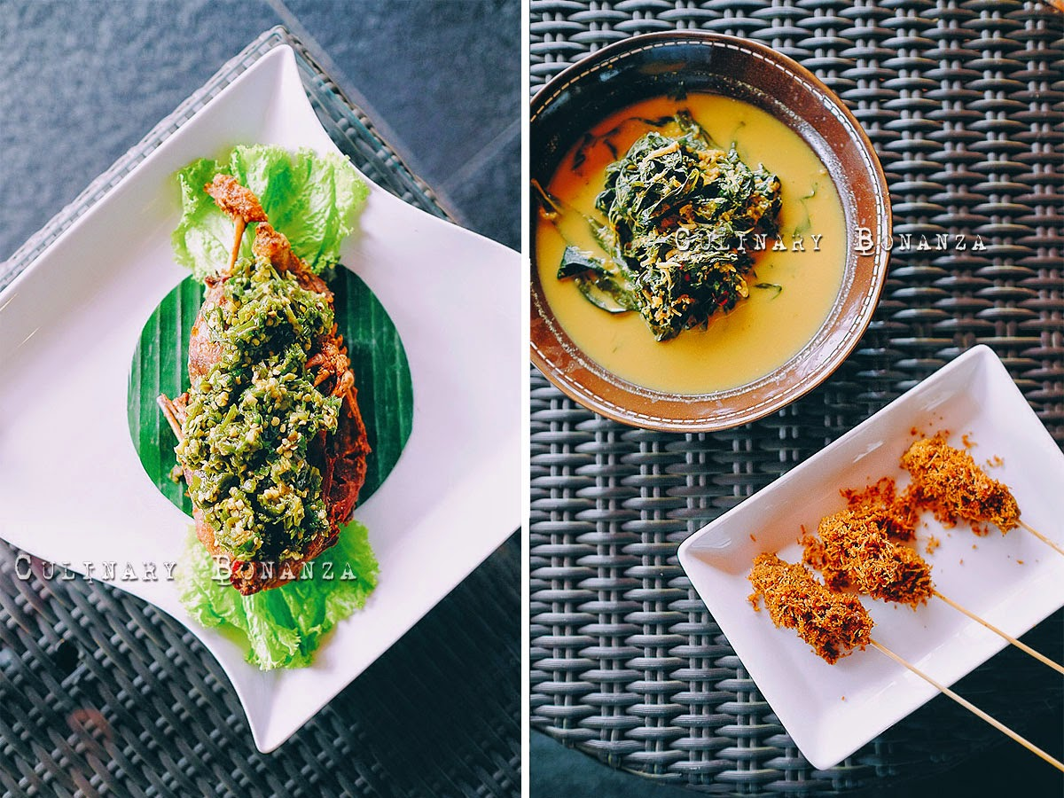 Left: Bebek Cabe Ijo IDR 78,000 (half duck) Right: Gulai Singkong IDR 18,000 and Sate Pala Adas IDR 30,000 (3 pcs)