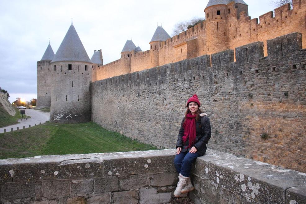 Muros do lado de fora do Cité de Carcassonne.