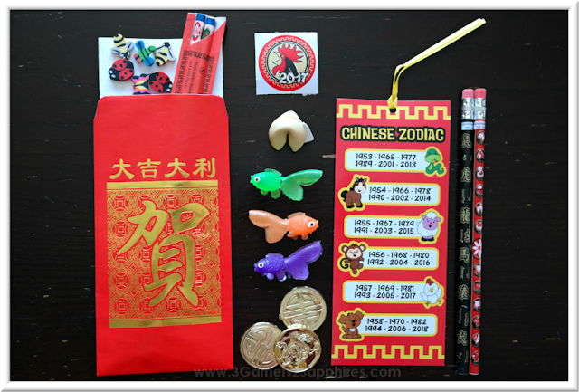 Chinese New Year Goodie Bag with Free printable Chopstick Race Game  |  3 Garnets & 2 Sapphires