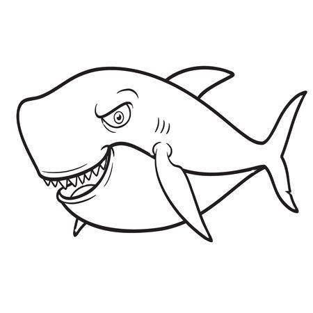 Tranh tô màu con cá mập hung dữ