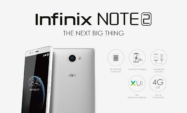 """Infinix Note 2 diluncurkan dengan 2GB RAM, Layar HD 5.98"""", dan Dual SIM 4G LTE"""