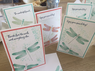 Cards made using Dragonfly Dreams stamps and Blends at Coffee and Cards. Stampin Up