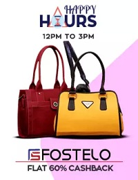 Women's Hand Bags – Happy Hour Sales : Flat 60% Extra Cashback in Paytm Wallet (Valid till 3 PM)