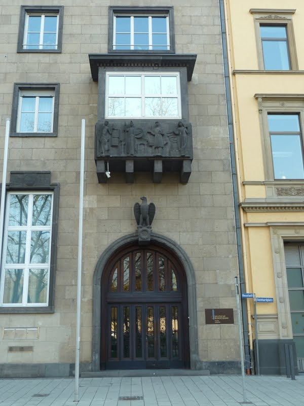 Deutsche Bundesbank building with NSDAP eagle and ornaments in Koblenz Germany