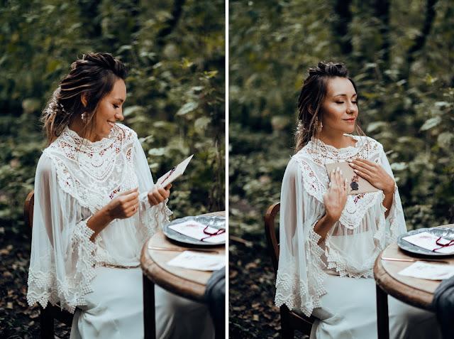 Panna Młoda z listem od ukochanego. Stylizowana sesja zdjęciowa Bridal Blog.