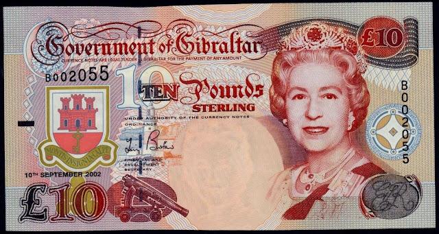 Gibraltar Banknotes 10 Pounds banknote 2002 Queen Elizabeth II