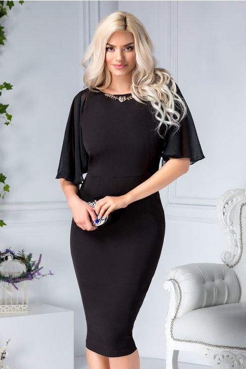 Rochie midi de seara neagra conica de ocazie cu aplicatie la guler