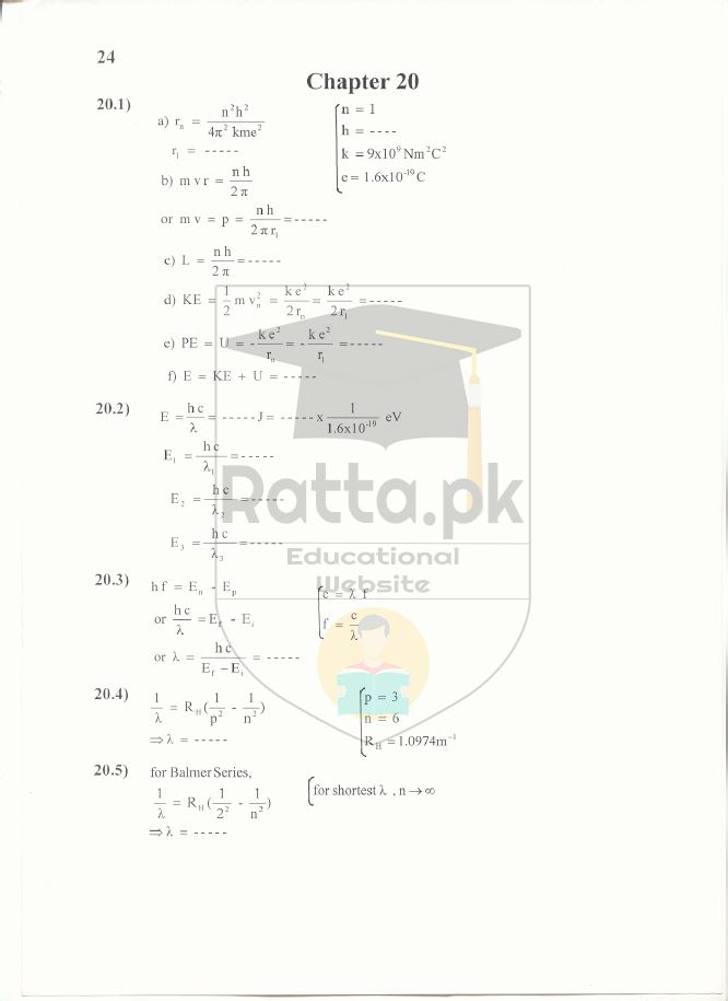 2nd Year Physics Solved Numericals Chapter 20 Notes - Atomic Spectra