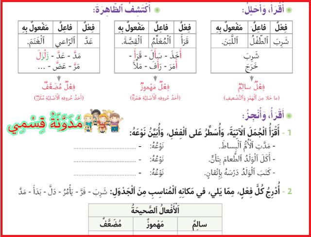 كراسة أنشطة الدعم و التقويم في اللغة العربية للمستوى الرابع ابتدائي