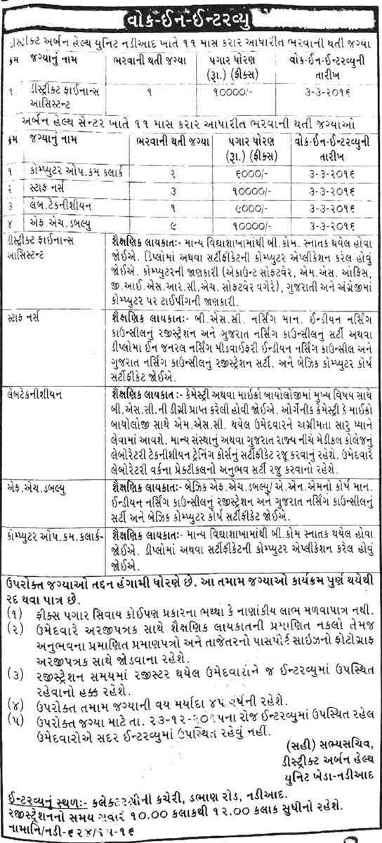District Urban Health Unit Nadiad Recruitment 2016