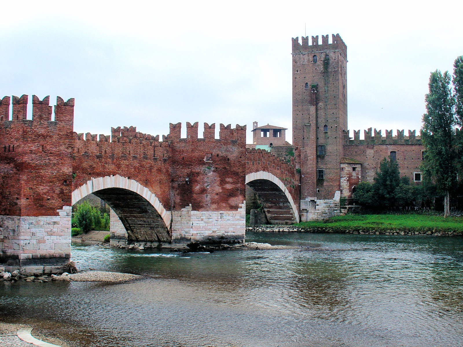 The Ponte Scaligeri leads the way to Castelvecchio in Verona, Italy.