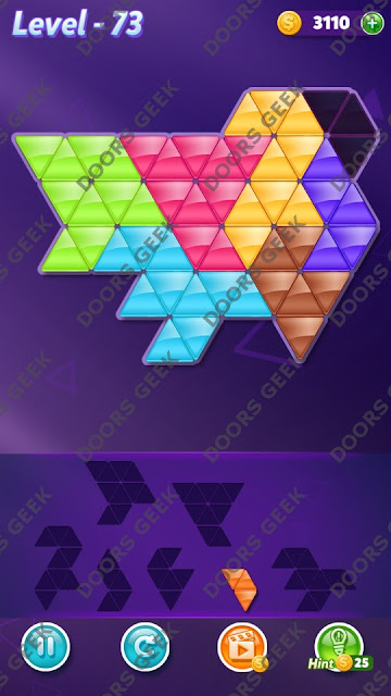 Block! Triangle Puzzle 7 Mania Level 73 Solution, Cheats, Walkthrough for Android, iPhone, iPad and iPod