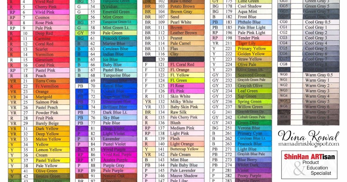Dina Kowal Creative Touch Marker Color Charts