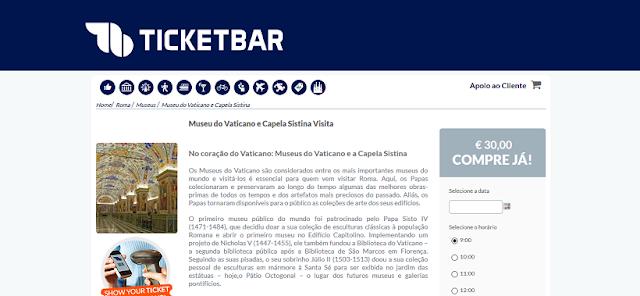 Ticketbar para ingressos para o Museu do Vaticano e Capela Sistina