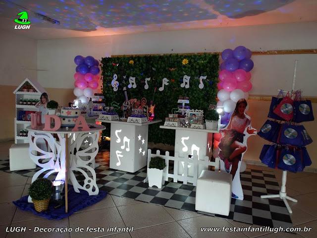 Violetta - Decoração provençal com muro inglês, tema da Violetta para festa de aniversário infantil de meninas