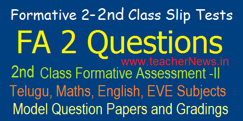 2nd Class Formative 2/ FA 2 CCE Model Question Papers/ Slip Tests, Grading Table