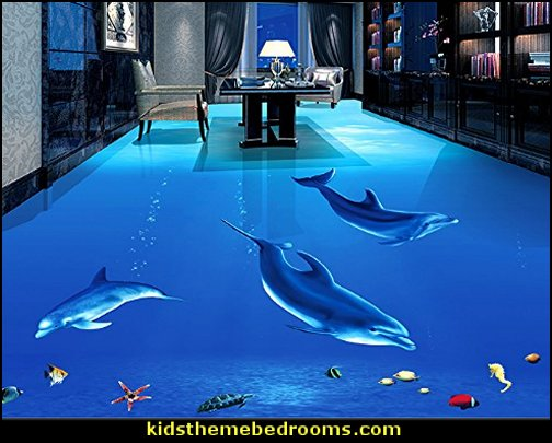 Underwater World Dolphin Floor Tile Sticker Kids Bedroom Bathroom Waterproof Wallpaper