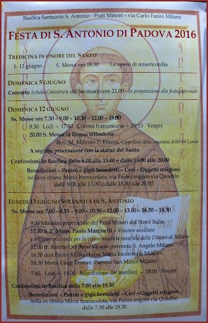 1° GIUGNO - INIZIO TREDICINA IN ONORE DI SANT'ANTONIO DI PADOVA