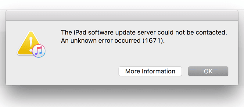 fix iphone error 1671