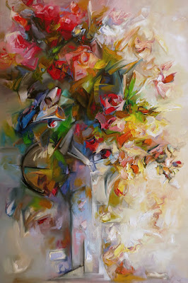 kwiaty - obraz olejny w manierze impresjonistycznej