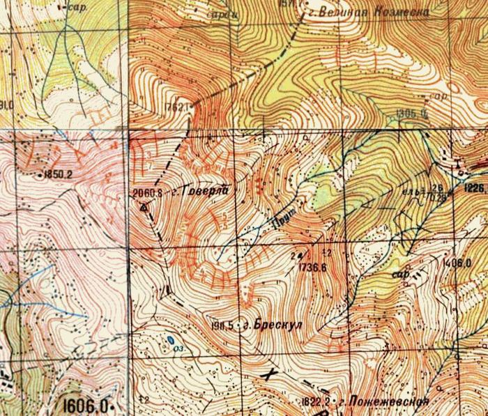Топографическая карта Генштаба СССР