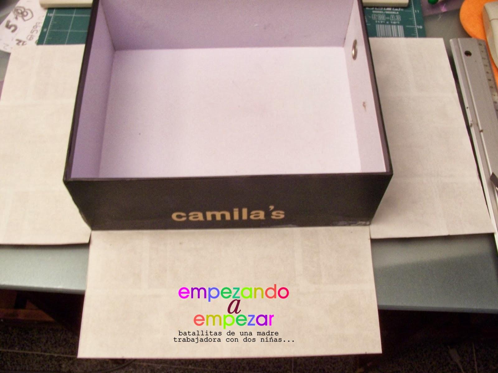 Empezando a empezar tutorial forrar una caja de zapatos for Forrar cajas de carton con tela