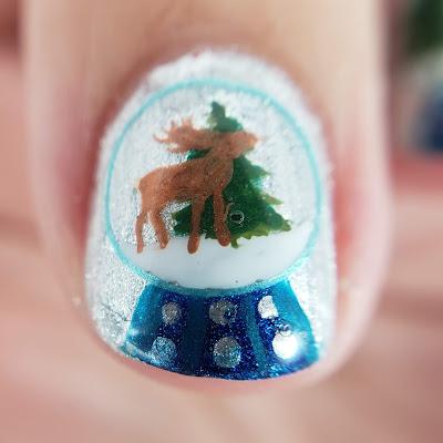 nail art, deer, snow-globe, clear jelly stamper, lina nail plates, nailstuff.ca, winter nails