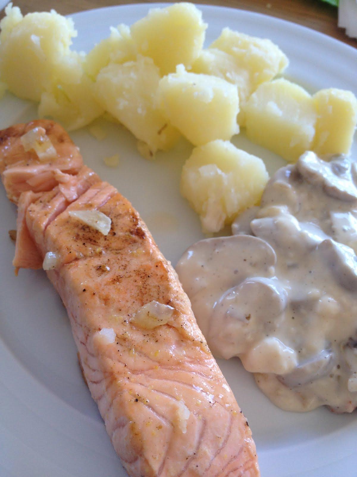 100x100singluten salm n con salsa e champi ones y patatas - Salmon con champinones ...