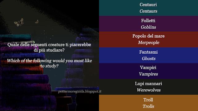 Quale delle seguenti creature ti piacerebbe di più studiare?