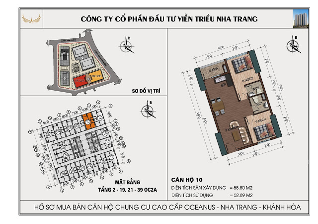 Sơ đồ căn hộ số 10 tòa OC2A Viễn Triều Nha Trang
