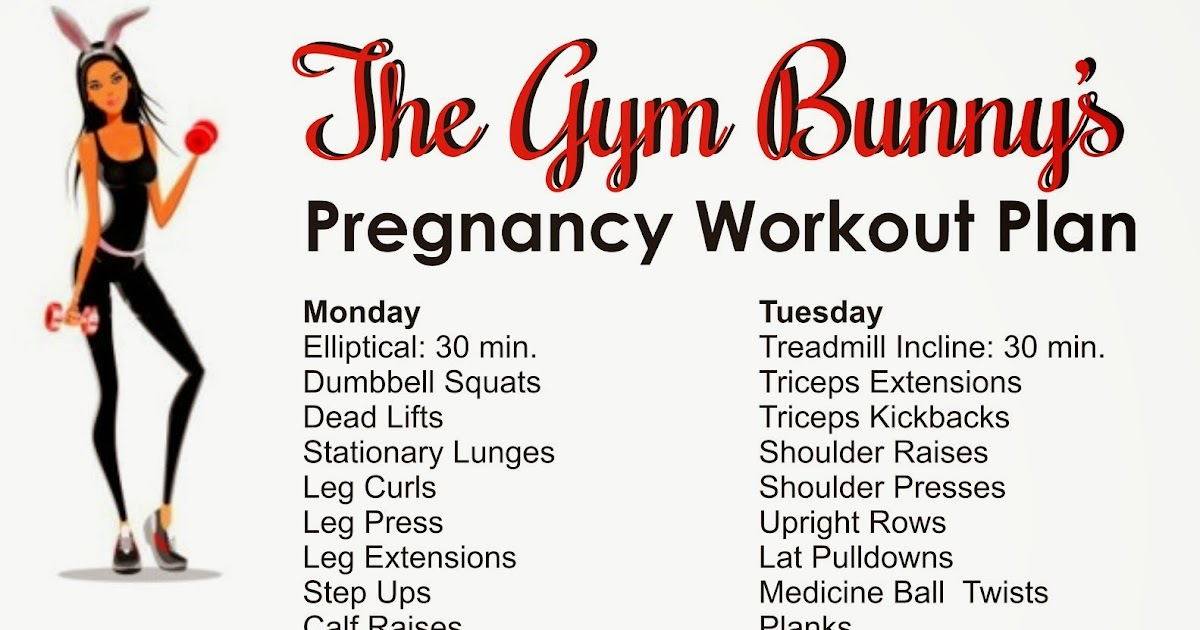 The Gym Bunny Pregnancy Weekly Workout Plan - weekly workout plan