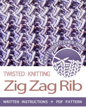 TWISTED STITCHES --  #howtoknit the Zig Zag Rib (Rick Rack stitch). FREE written instructions, PDF knitting pattern.  #knittingstitches #knit