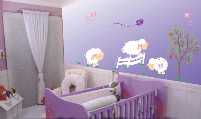 Vitória Adesivos de Parede Adesivo decorativo quarto de bebe ovelhas