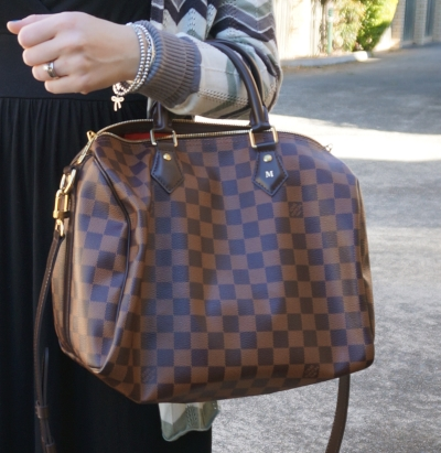 Louis Vuitton Damier Ebene 30 speedy bandouliere with chevron print cardi